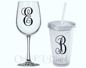 Single Initial Monogram - Decal for DIY Projects -Tumblers, Wine Glass, Mugs, Vehicles, and more. Glass NOT Included