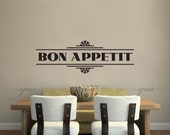 Kitchen Wall Decal - Dining Room Wall Decal - Bon Appetit - Wall Stickers - Custom Decal Wall Graphics - 16-0002