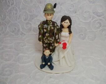 custom bride and military  groom wedding cake topper