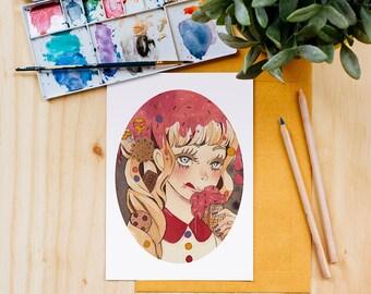 Hanzel and Gretel Art Print, Fairy Tales, Watercolor