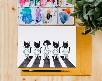 Catwalk Art Print, Cats, Beatles, Crossing, Watercolor