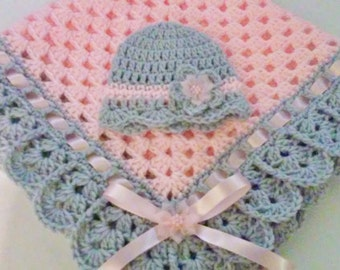 Hand-Crochet Baby Blanket and Hat Set granny square baby blanket newborn hat pink gray girl baby shower gift