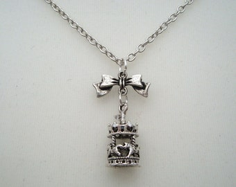Silver carousel necklace - antique silver merry go round and bow charms on chain