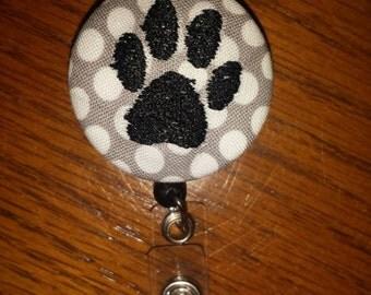 Puppy paw print retractable badge holder reel