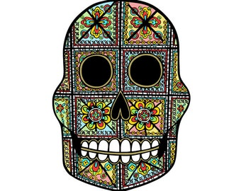 Stained Glass Skull // A4 Archival Giclee Print // by Amy Rose