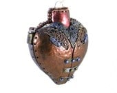 Steampunk Ornament/Industrial Ornament - Heart with Faux Hammered Copper Look