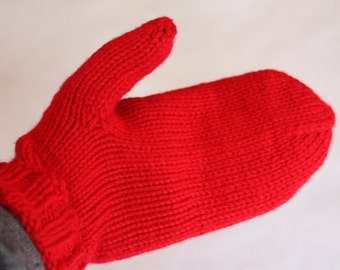 Red Mittens for Adults - Red Knit Mittens - Adult Size Mittens - Christmas Gift