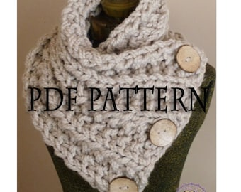 Crochet scarf pattern button Etsy