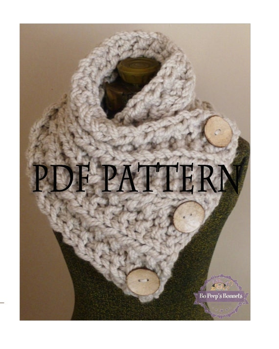 Knit Scarf Pattern With Button Hole : Knitting Pattern THE LANCASTER SCARF Chunky Button Neckwarmer