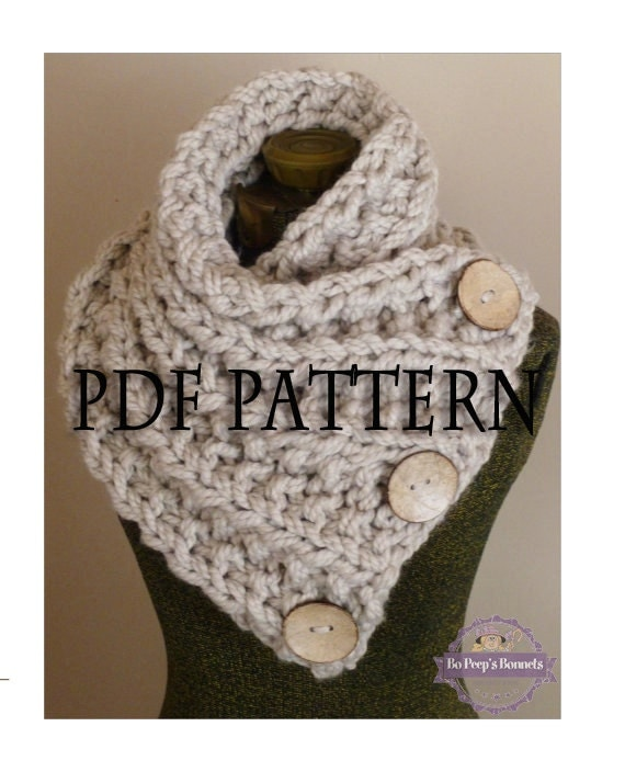 Knitting Pattern For Scarf With Buttonhole : Knitting Pattern THE LANCASTER SCARF Chunky Button Neckwarmer