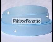 "5 yds 7/8"" Light Baby Blue  Sparkle Solid Color Glitter Grosgrain Ribbon"