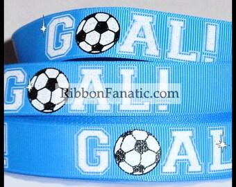 """SALE 25% OFF!! 5 yds 7/8"""" Glitter Soccer Ball GOAL on Carolina Blue Grosgrain Ribbon"""