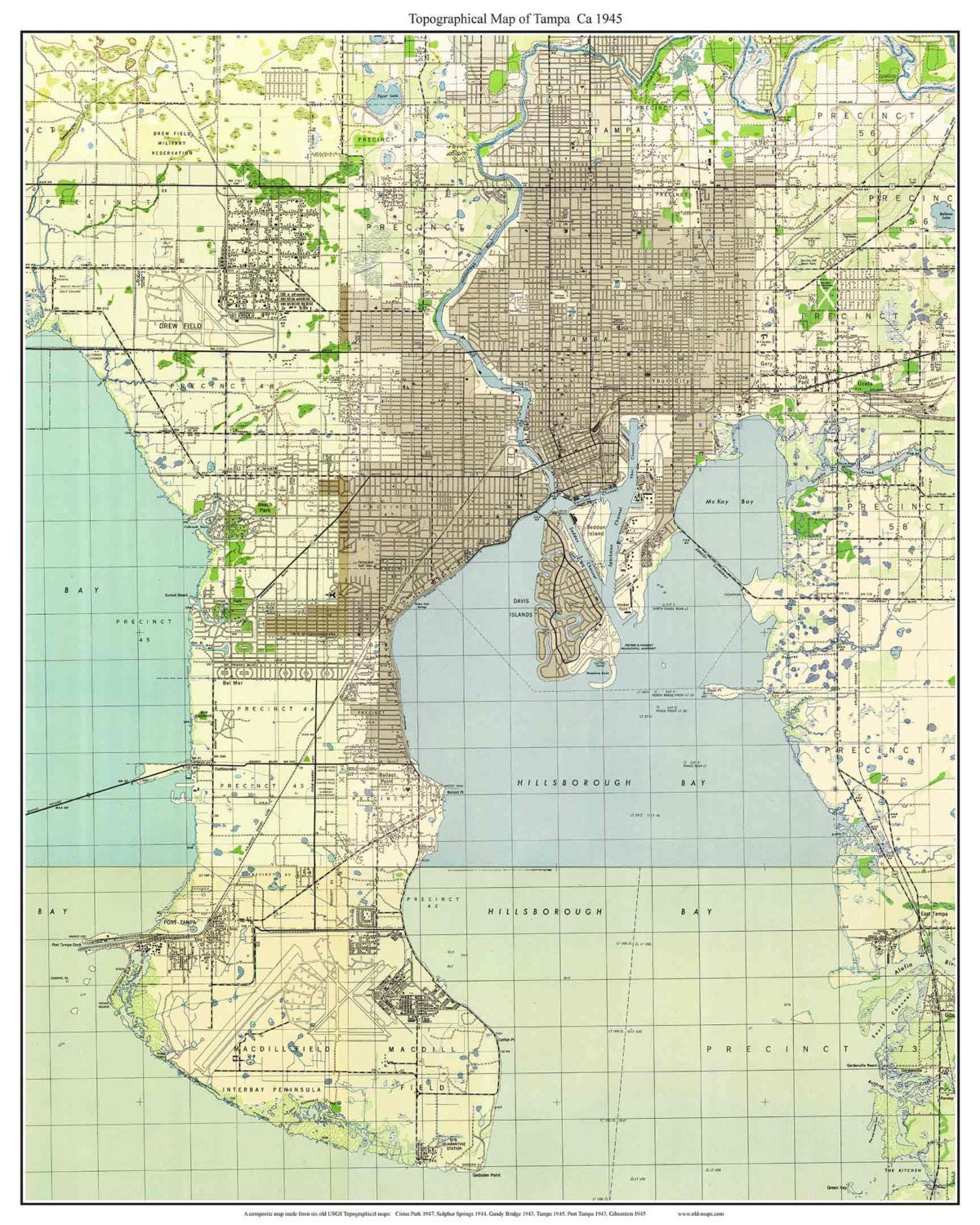 tampa florida 1945 old topo map a composite made from 6 usgs. Black Bedroom Furniture Sets. Home Design Ideas