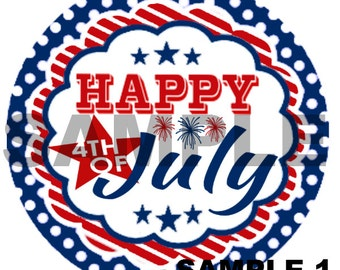 Happy 4th of July - Independence Day - Chevron, Stripe, Polka Dot, Scallop - Personalized Iron On Transfer - DIY No Sew