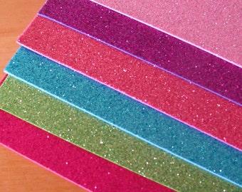 """6 Glitter Foam Sheets(Eva Foam) For Fofuchas Doll(Craft Foam) 11""""X 8 1/2"""""""