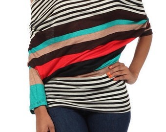 Womens Multi-Colored Off-Shoulder Open Back Top