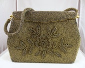 1950s Metallic Bronze Beaded Clutch, Beaded Evening Bag, Leaf Design Purse, Handmade in Hong Kong, 1950s Purse, Mid Century Handbag