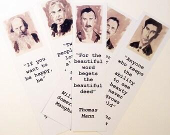 Author bookmarks set Thomas Mann Kafka Tolstoi Somerset Maugham Kundera bookmarks art literature bookmarks author quote SEPIA PICS