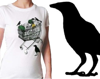 Organic t-shirt for women, lost in the supermarket, screen printed by hand