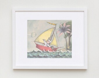 where the wild things are wall art maurice sendak max sailboat. Black Bedroom Furniture Sets. Home Design Ideas
