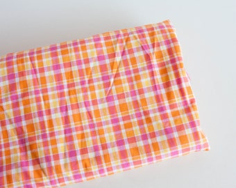 Pink Orange Plaid Fabric, Lightweight Cotton Plaid Fabric - by the yard, Vintage Fabric Yardage