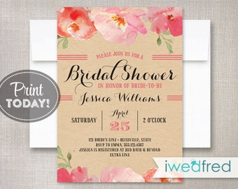 Bridal Shower Invitation, Kraft Shower Invitation, Bridal Shower Printable, Printable Bridal Shower Invitation, #BR022