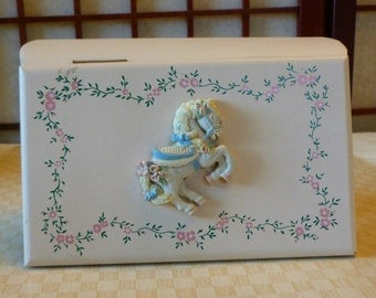 Vintage Little Girls Carousel Horse Wood Jewelry Box
