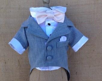Grey Dog Tuxedo and Satin Shirt (custom tuxedo and bow colors available)