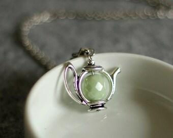 Teapot Pendant, Tea Necklace, Green Teapot Necklace, Gift for Tea Lovers, Teapot Jewelry, Cute Pendant, Silver Teapot,Tea time necklace,