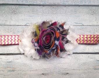 Multicolor Shabby Flowers Stretch Headband