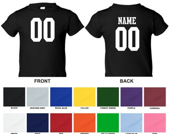 Personalized custom jersey style infant t-shirt, choose the number for front and name and number for back 0002