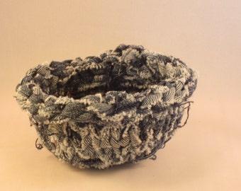 Crocheted Fabric Bowl or Basket, Denim 4.25 in. - fabric basket - cloth bowl - cloth basket - coiled bowl - coiled basket