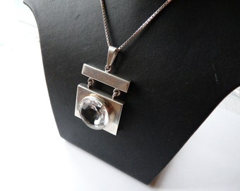 Danish or Norwegian, Scandinavian rare mid century, modernist designer, signed, sterling silver pendant with rock crystal from 1970s