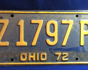 1972 Vintage License Plate Ohio 70's Wall Hanging Collectible Antique Metal Sign Man Cave Garage Bar Sign
