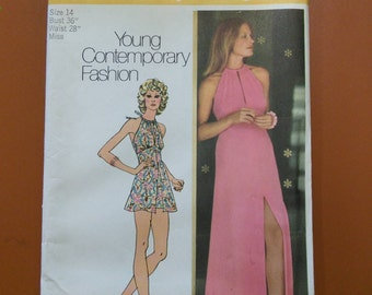 Simplicity 5372 Halter Dress Maxi & Short Shorts Vintage Sewing Pattern 1970s 70s Size 14