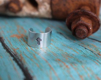 Hand Stamped Cross Aluminum Blank Ring