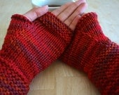 Red Fingerless Gloves/Mitts size small, medium, Texting gloves, Fall/ Winter fashion, wrist warmers for women or men
