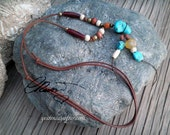 Turquoise Ethnic Tribal leather necklace