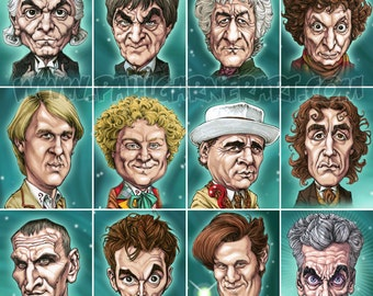 "Doctor Who - The Twelve Doctors 16"" x 16"" signed art print"