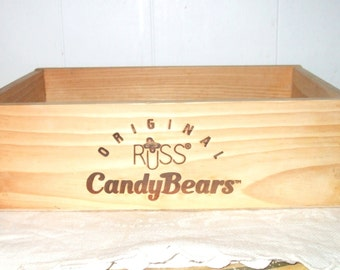Russ Candy Bears Wood Store Display Box - Dovetail