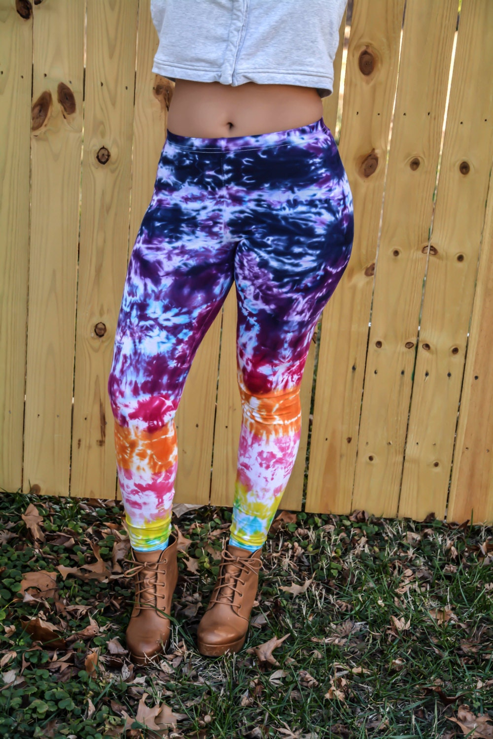 Rainbow Ombre Tie Dye Leggings Womens fashion Hand Dyed