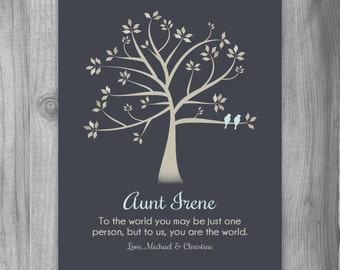 Personalized Gift for AUNT To Us You Are The World Poem Custom Art Print Niece Nephew for Aunt Gift Idea for Christmas