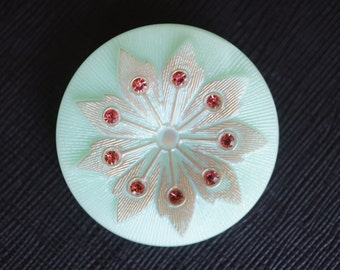 Czech Glass Button with Rhinestones, Hand painted, size 16'', 36mm, 1pc(BUT315/16)