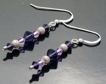 Purple Swarovski Crystal and Sterling Silver Dangle Earrings