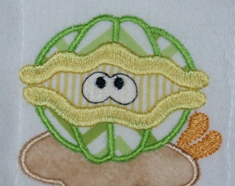 Beachy and fun Clam in the sand bib, burp cloth, body suit or toddler shirt