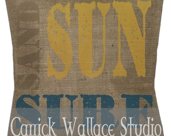 Burlap Pillow Sand Sun Surf Graphic Brown Yellow Blue Throw Pillow Cover Euro Sham