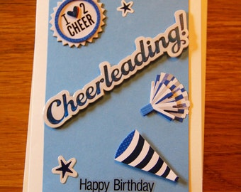 Handmade Cards, Handmade Birthday Cards, Cheerleading Card, Girls Birthday
