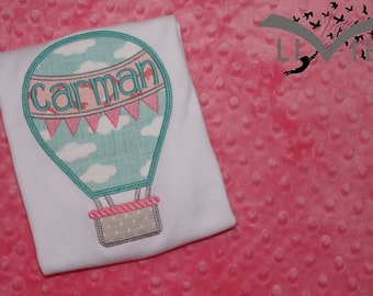 Hot Air Balloon Appliqued Shirt or Onesie