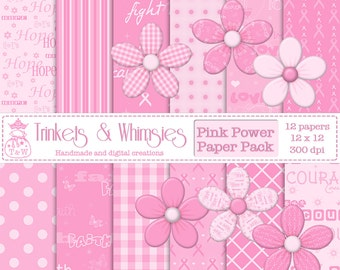 Pink Power Breast Cancer Awareness Digital Scrapbook Papers - Instant Download