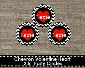 Chevron Valentine Heart Party Circles - Printable - DIY